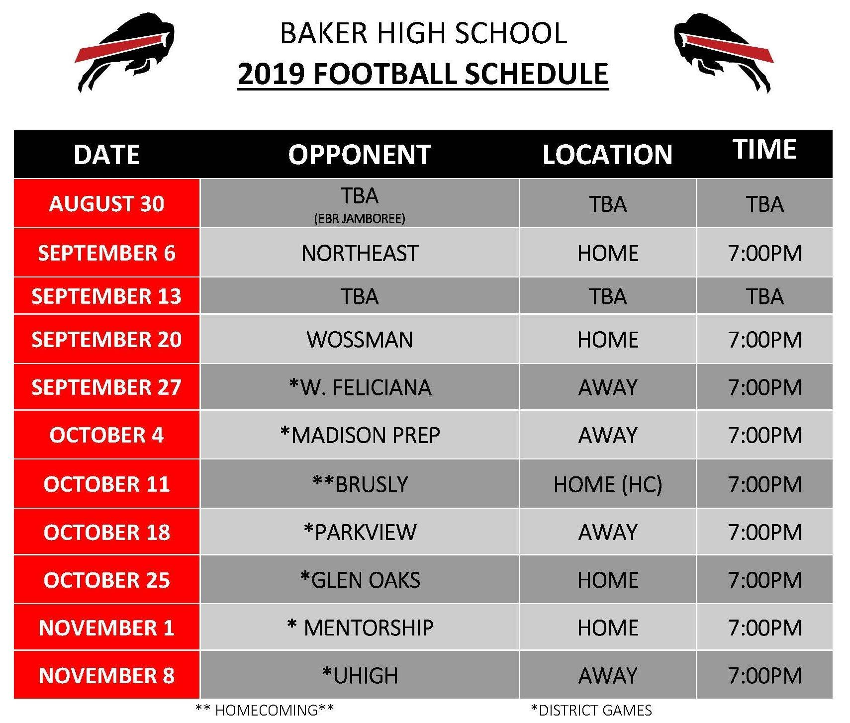 A graphic of the Baker High School 2019 Football Schedule