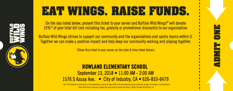Rowland PTA Buffalo Wild Wings Fundraiser on Sept 13 Featured Photo