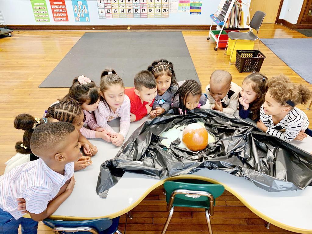 Students have fun observing a pumpkin volcano