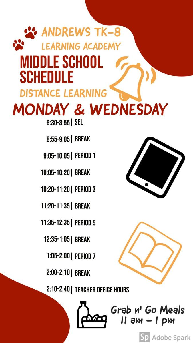 Middle School Schedule Monday & Wednesday