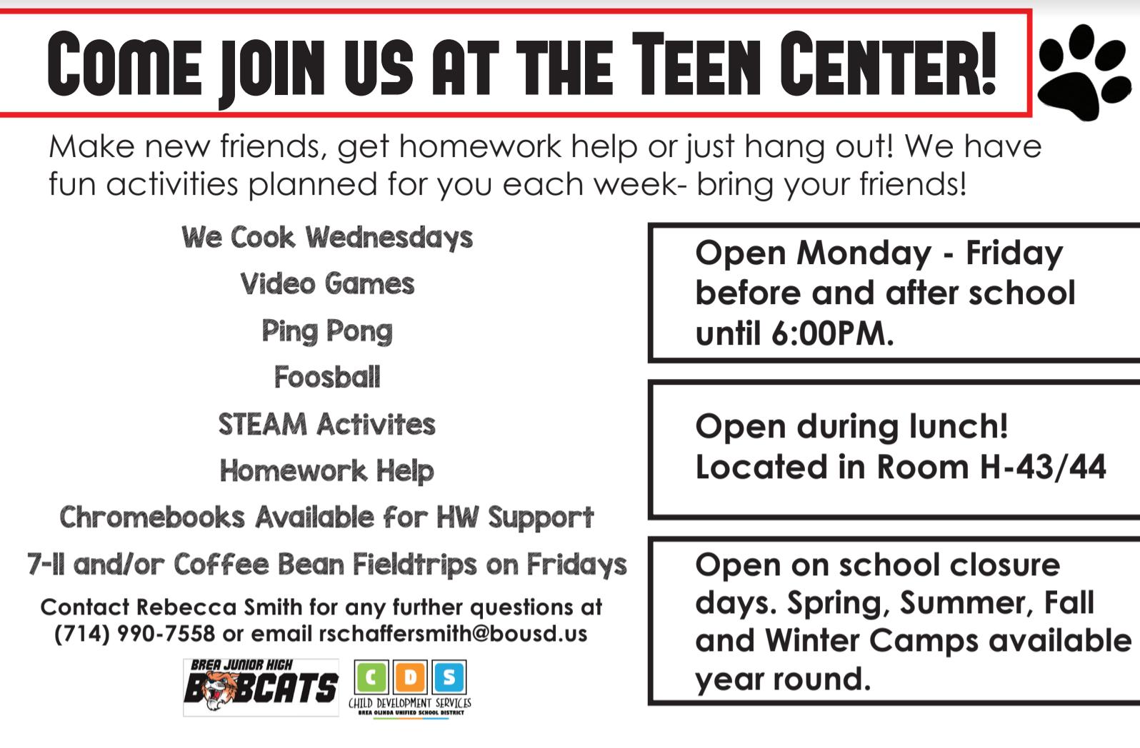 Teen Center Information