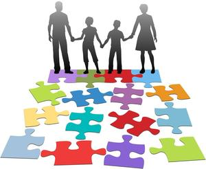 An animated picture of a family standing in front of puzzle pieces.