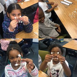 students with marshmallows