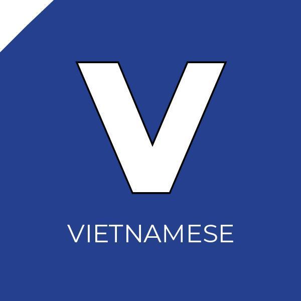 The letter V inside a blue box