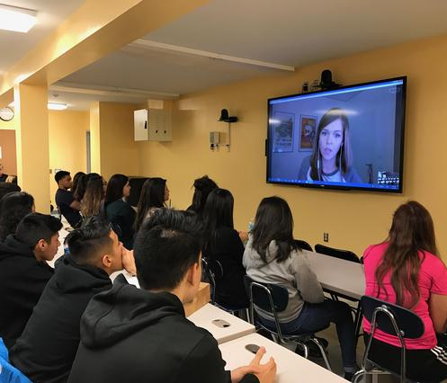 Students participate in a distance learning opportunity