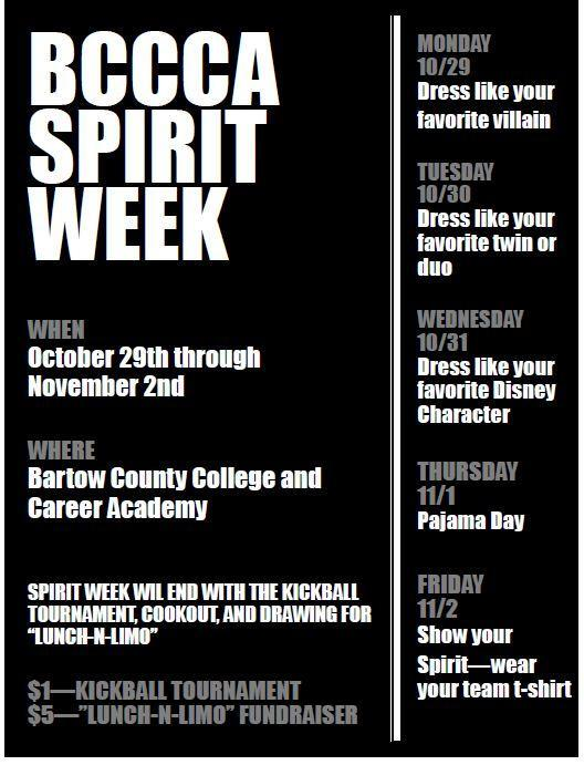 Supporting BCCCA Spirit Week
