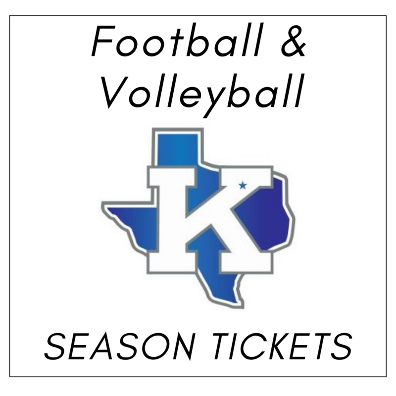 white background image shows a blue texas with a white K and black text above that reads football and volleyball season tickets