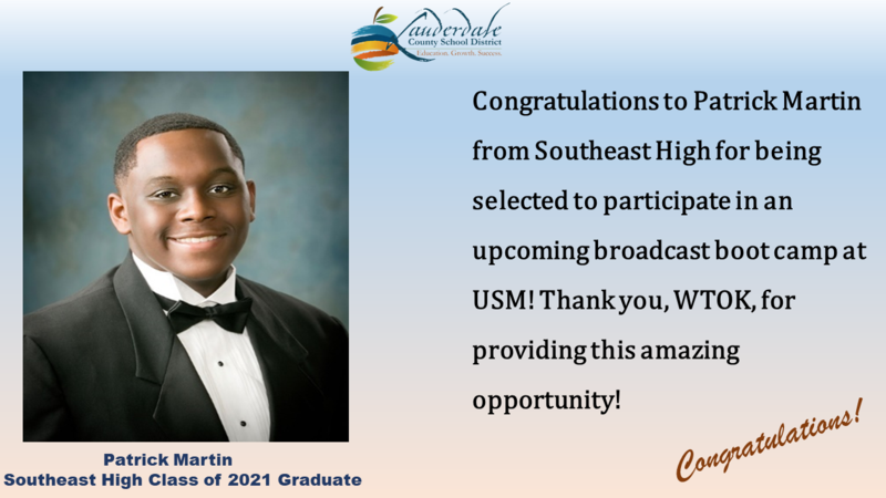 SEHS Broadcast Boot Camp Honoree Patrick Martin