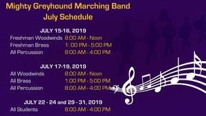 July Band Schedule