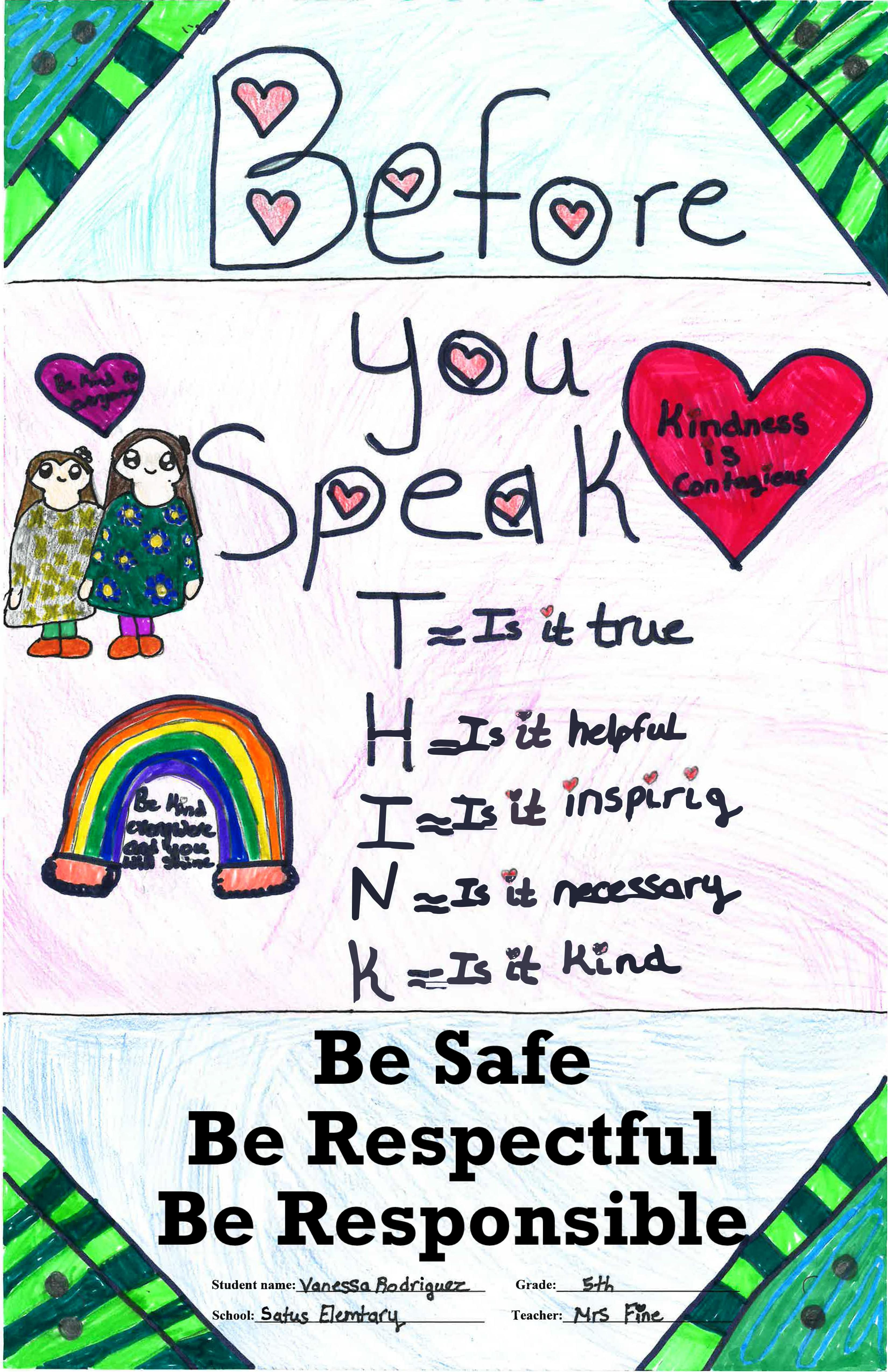 Poster with green edges, a rainbow, sketch of two people standing and rules to think about before you speak