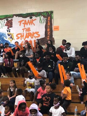 Picture of cheering students at pep rally