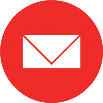 Email icon featuring a white envelope inside a red circle