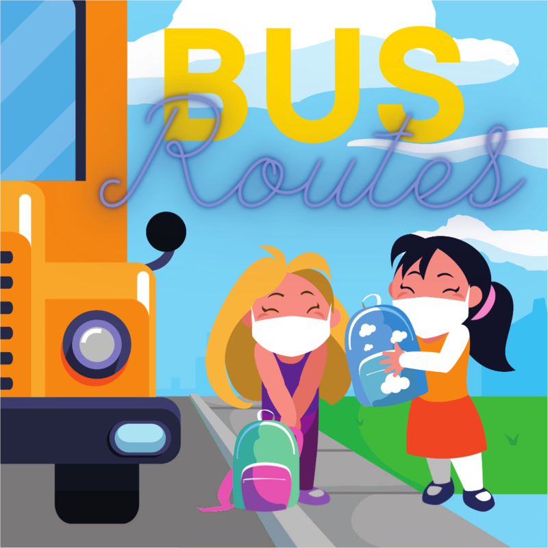 Bus Routes with cartoon kids waiting at a bus stop wearing masks.