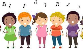 6 cartoon students standing while singing