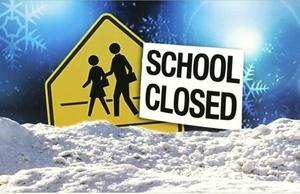 School closed picture with snow.