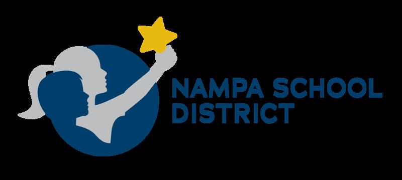 Horizontal Nampa School District Logo - two children holding a star