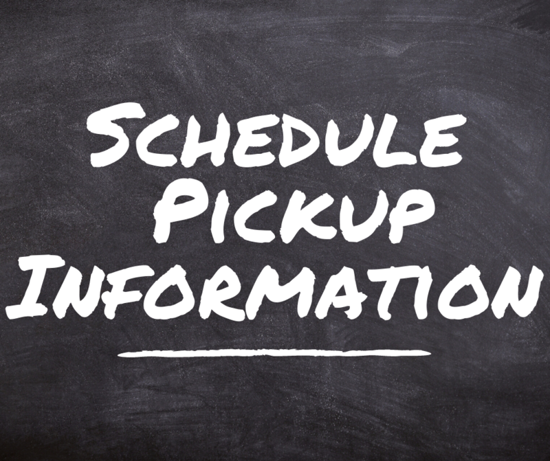 Schedule pickup information