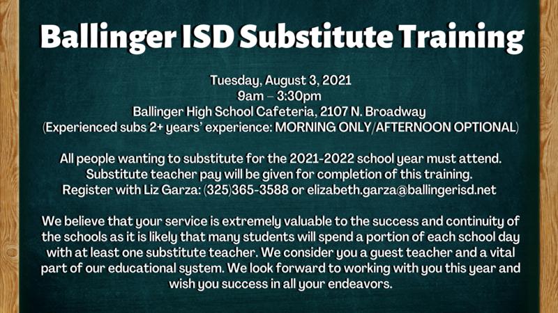 Ballinger ISD Substitute Training