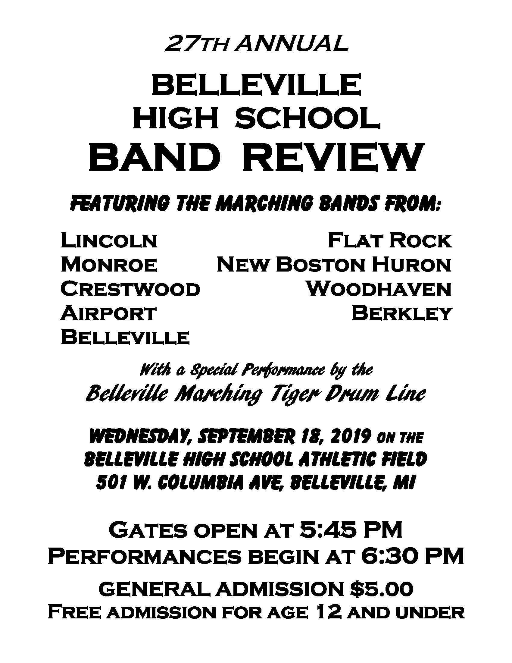 Marching Band to Perform in the Belleville Band Review