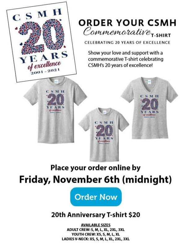 CSMH 20th anniversary commemorative t-shirts