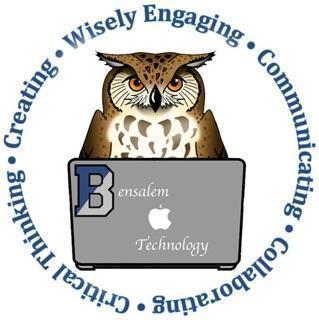 Bensalem's technology logo. A picture of an owl holding a laptop