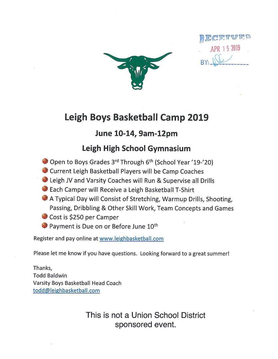Leigh Boys Basketball Camp