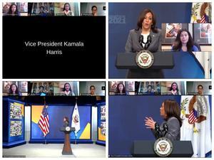 Vice President Kamala Harris standing at podium talking virtually to senior students
