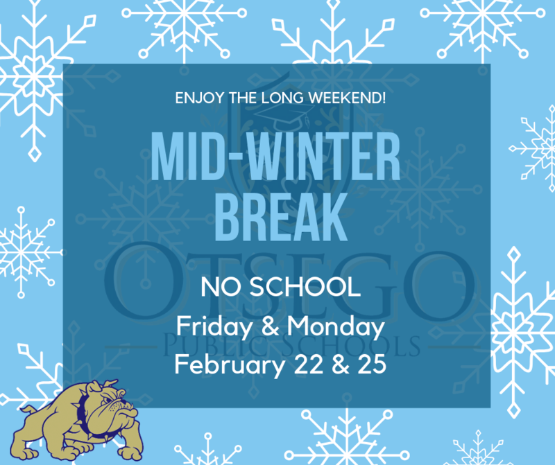 Graphic that says mid-winter break on February 22 & 25. No school on those days.