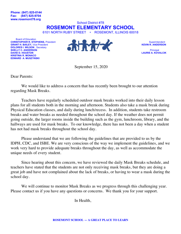 Mask Breaks Parent Letter 9-16-2020