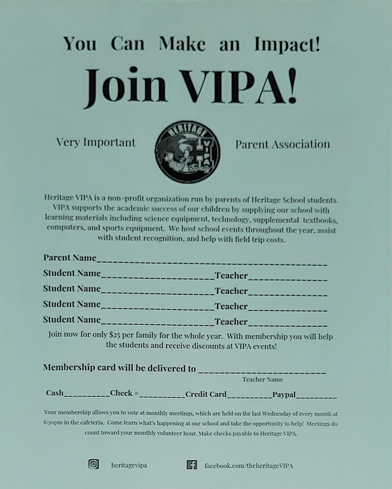 VIPA membership form