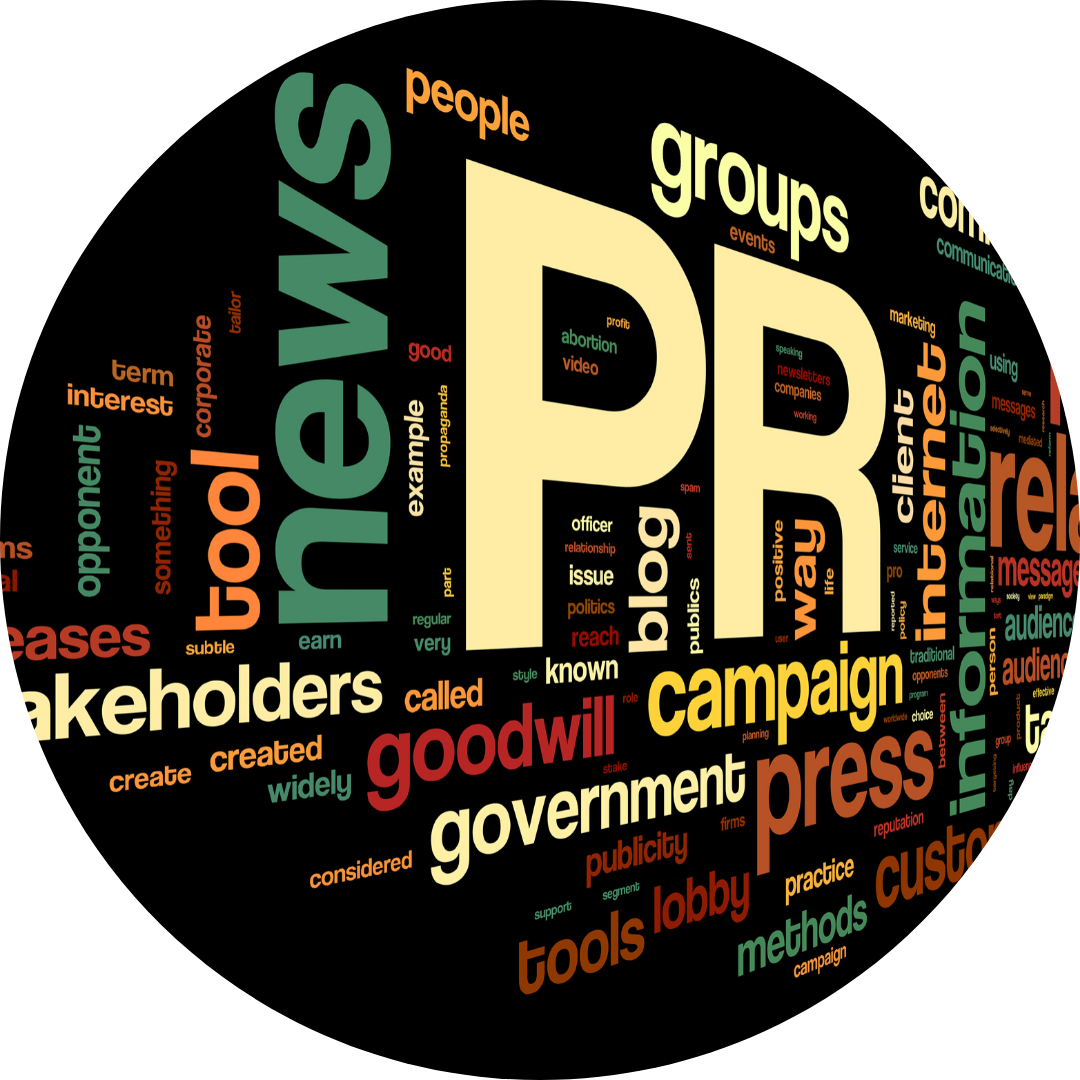 a collection of words describing public relations