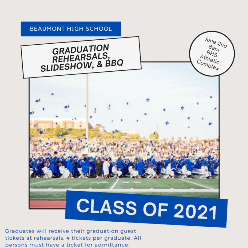 Graduation Rehearsals: June 2nd @ 8am BHS Athletic Complex Featured Photo