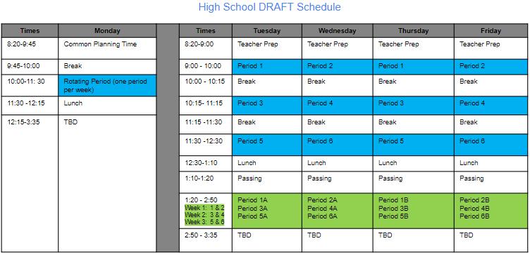High School DRAFT Schedule