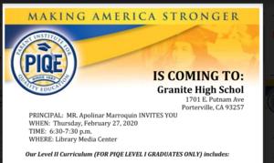 PIQE Level 2 Flyer