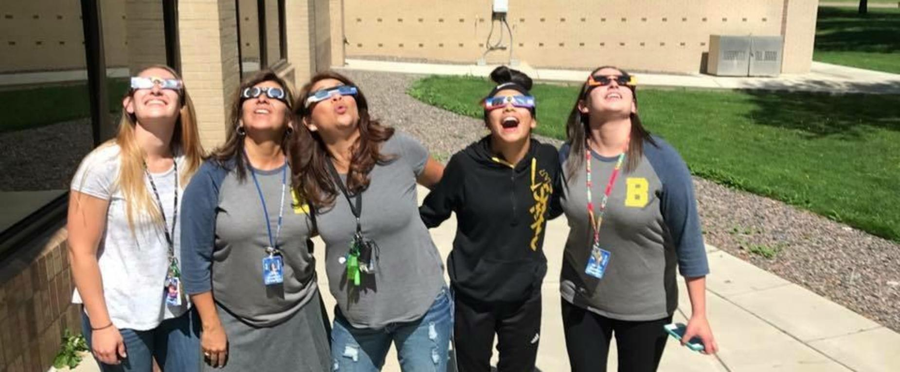 Staff Enjoying the Eclipse