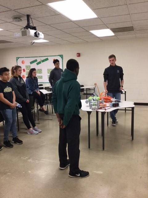 Club members demonstrating the knowledge of the construction of their Underwater ROV designed in the Computer and Robotics Club