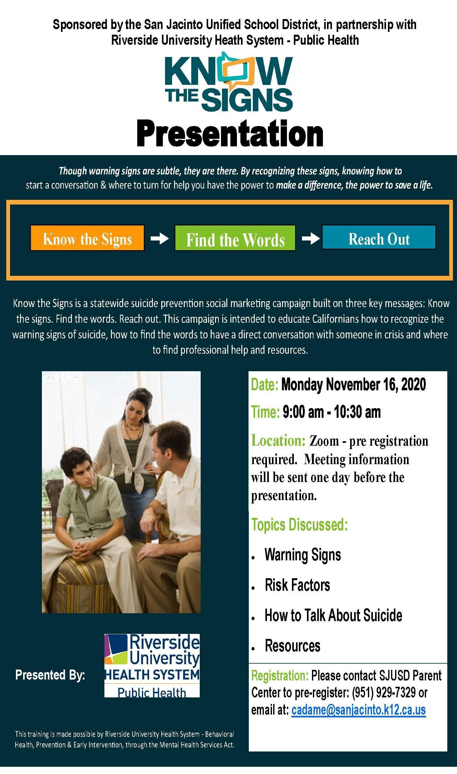 Suicide Prevention Parent Workshop