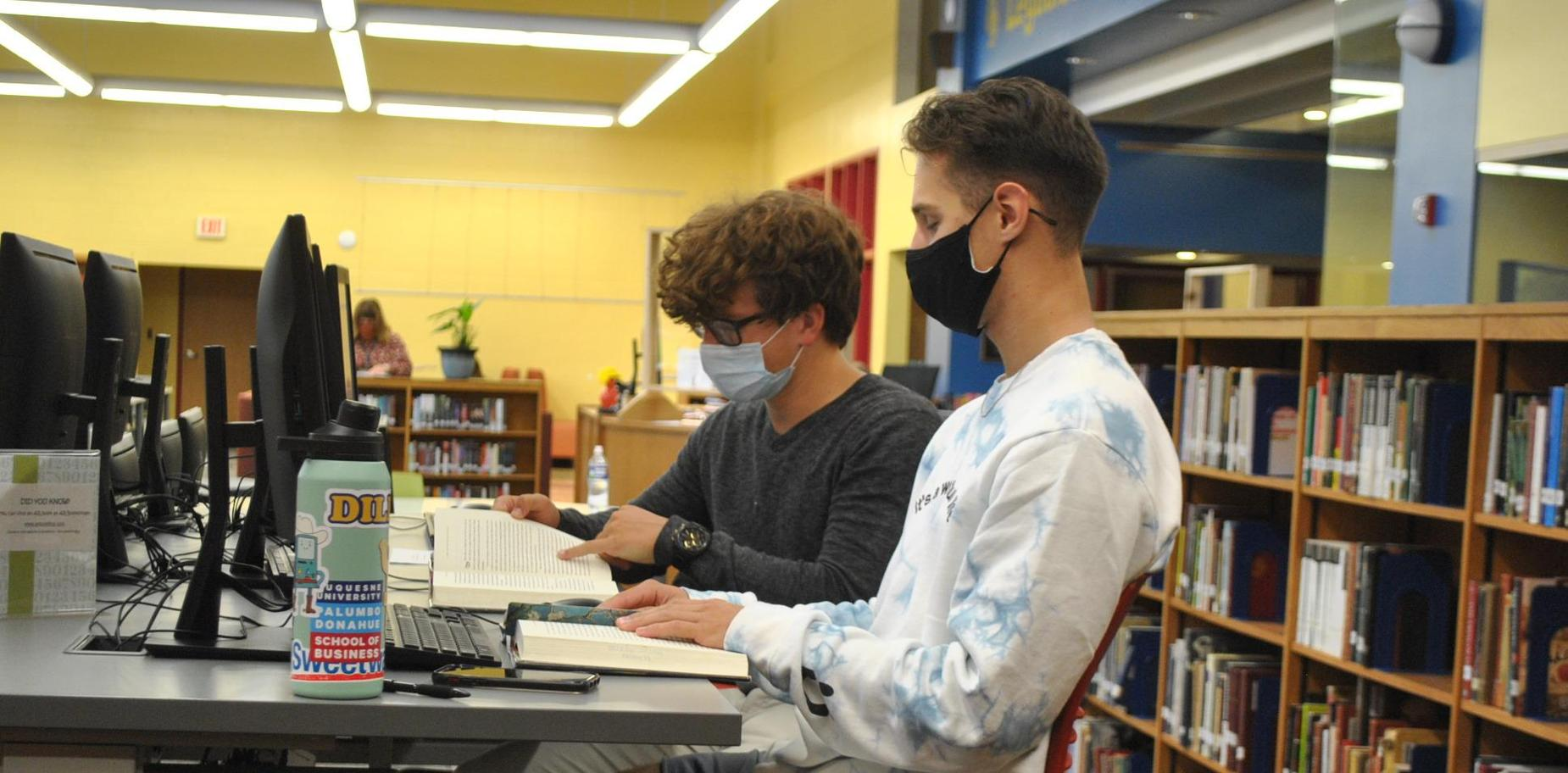 students working at computer