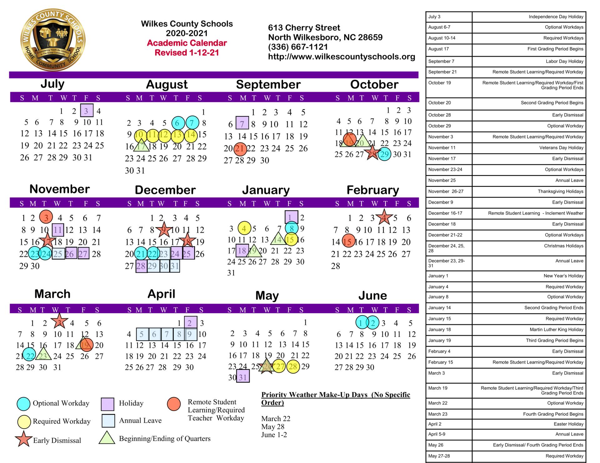 Pictures of Wilkes County School Calendar 2021-2022