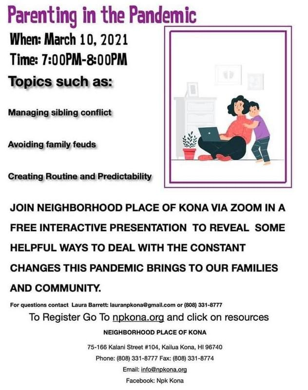 Informational flyer about parenting in the pandemic webinar