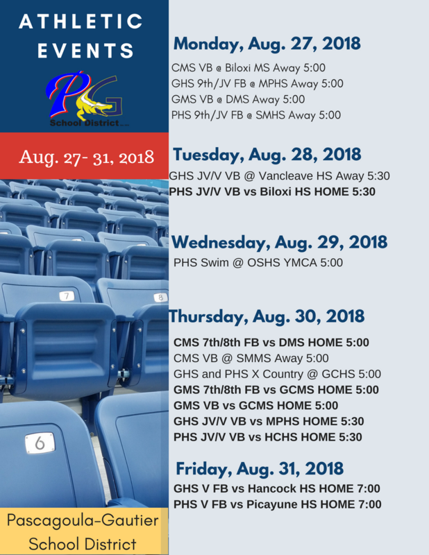 Athletic Events for Week of August 27, 2018
