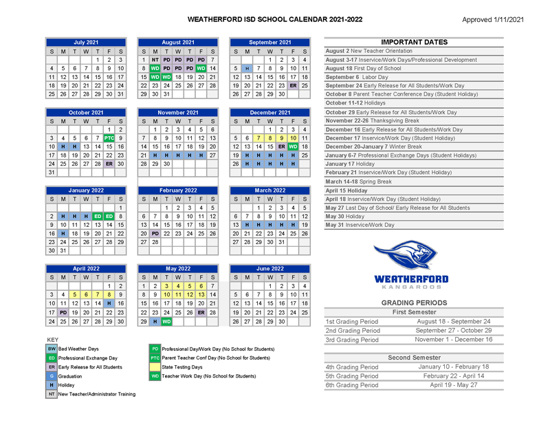Image of the 2021-2022 school calendar