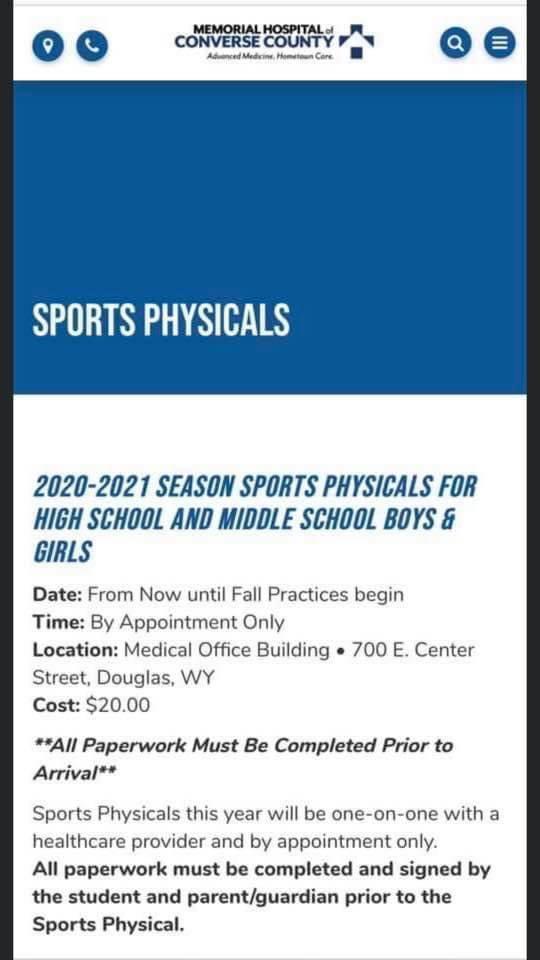 Sport Physicals Information