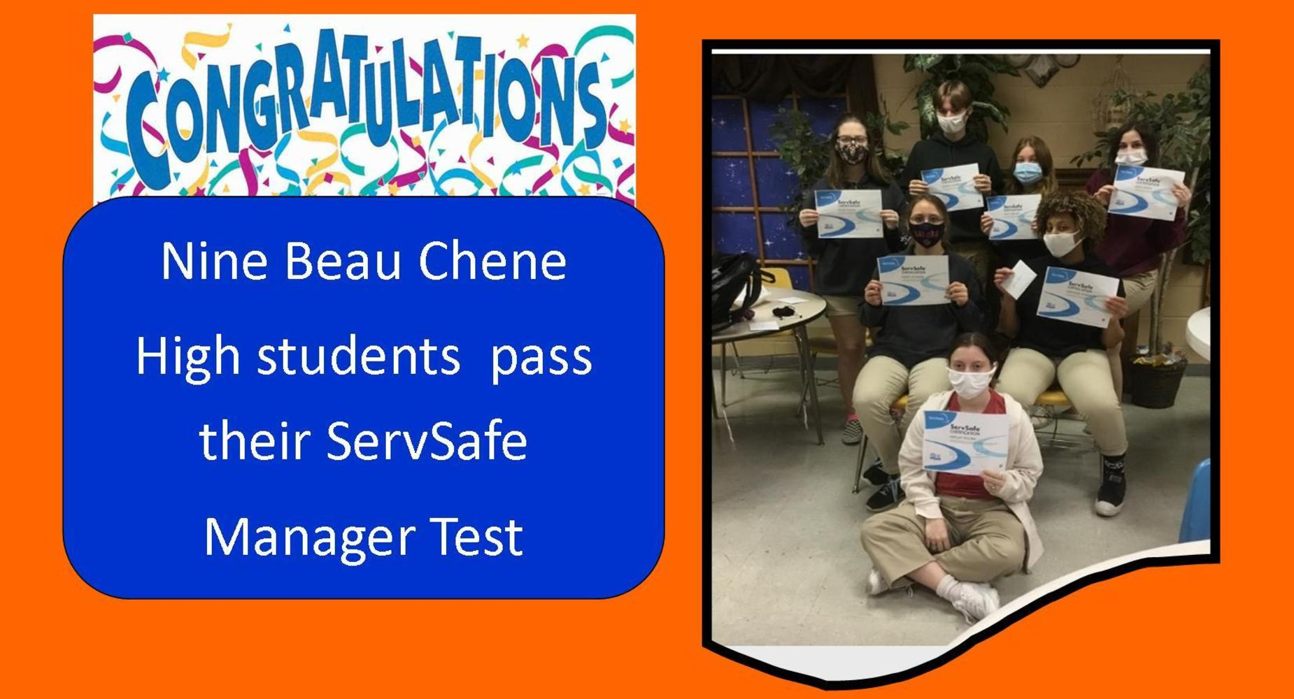 Nine students in Food and Nutrition pass their ServSafe Manager Test