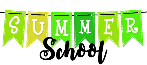 Summer School banner in green and yellow