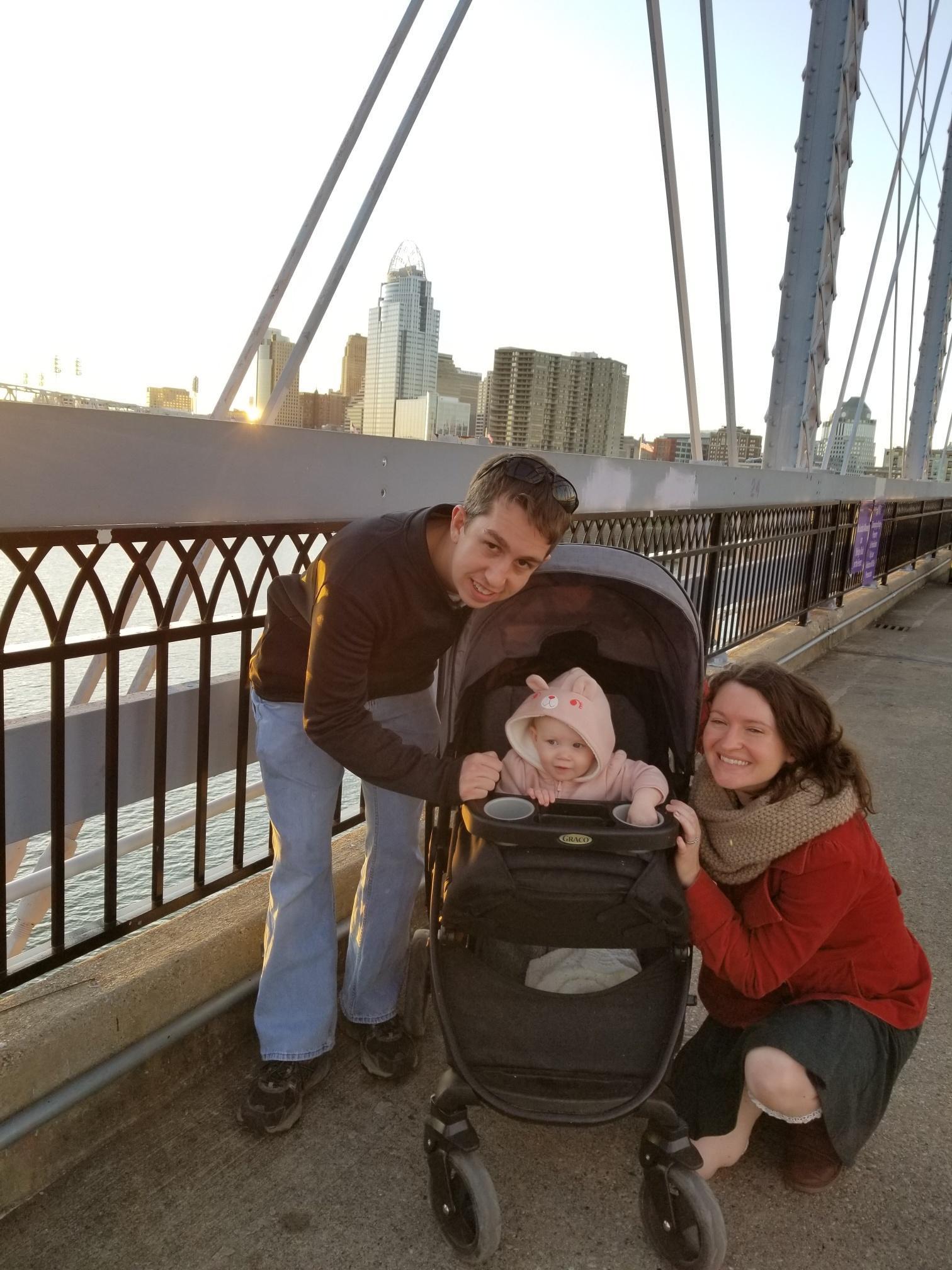 Family on the Purple People Bridge between Newport, KY and Cincinnati, OH