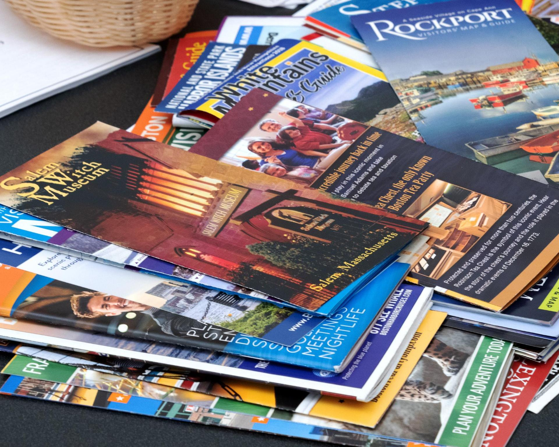 An array of tourism-related brochures