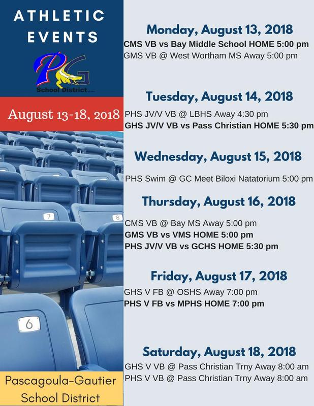 Athletic Events for Week of August 13-18, 2018
