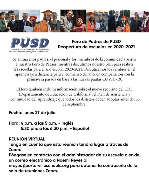 Reopening Parent Forum - Spanish