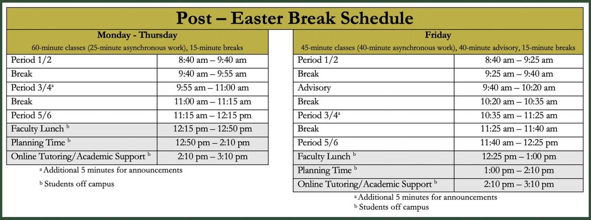 After Easter Schedule